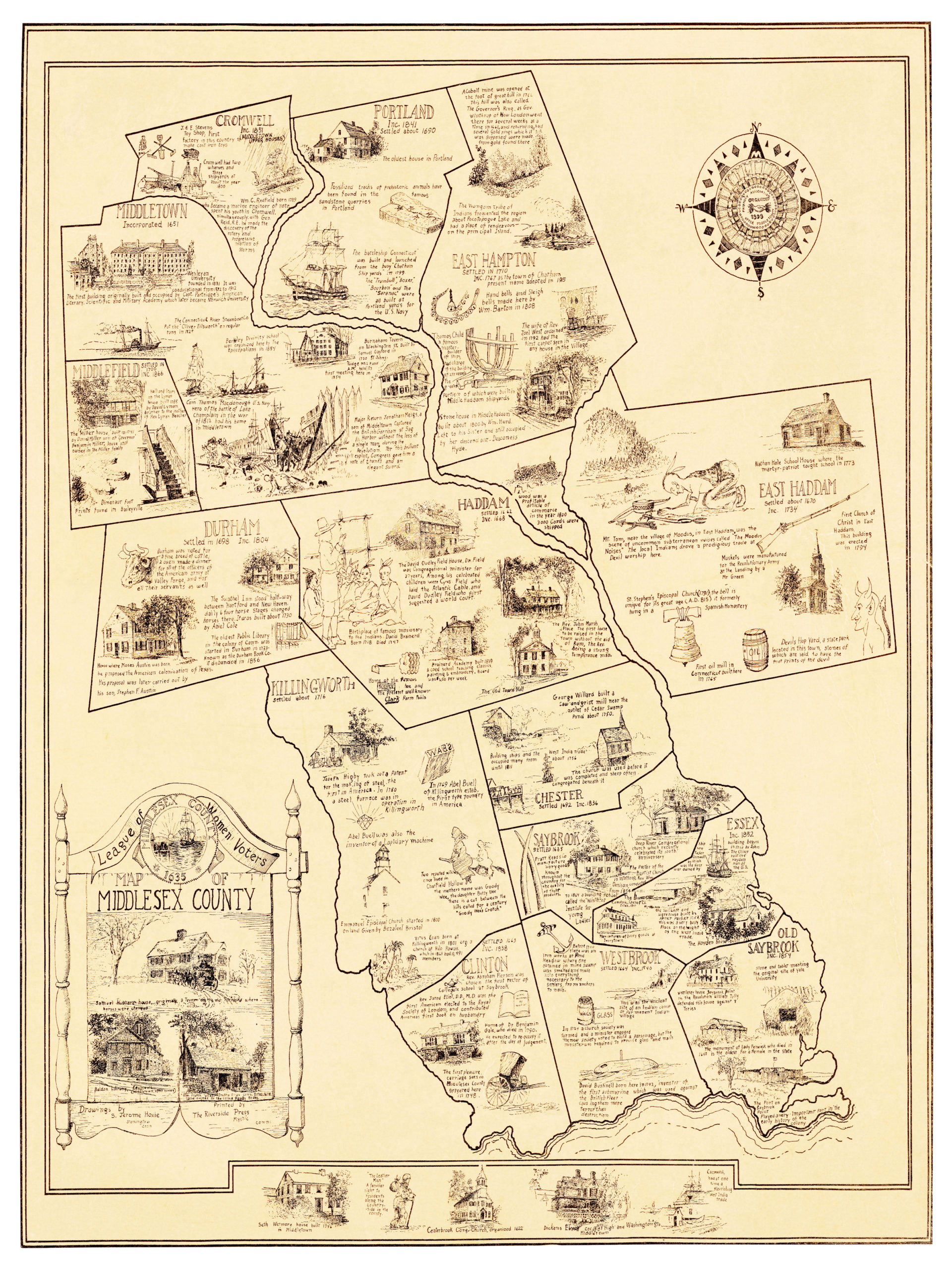 Historical Map Of Middlesex County Connecticut KNOWOL - Connecticut county map