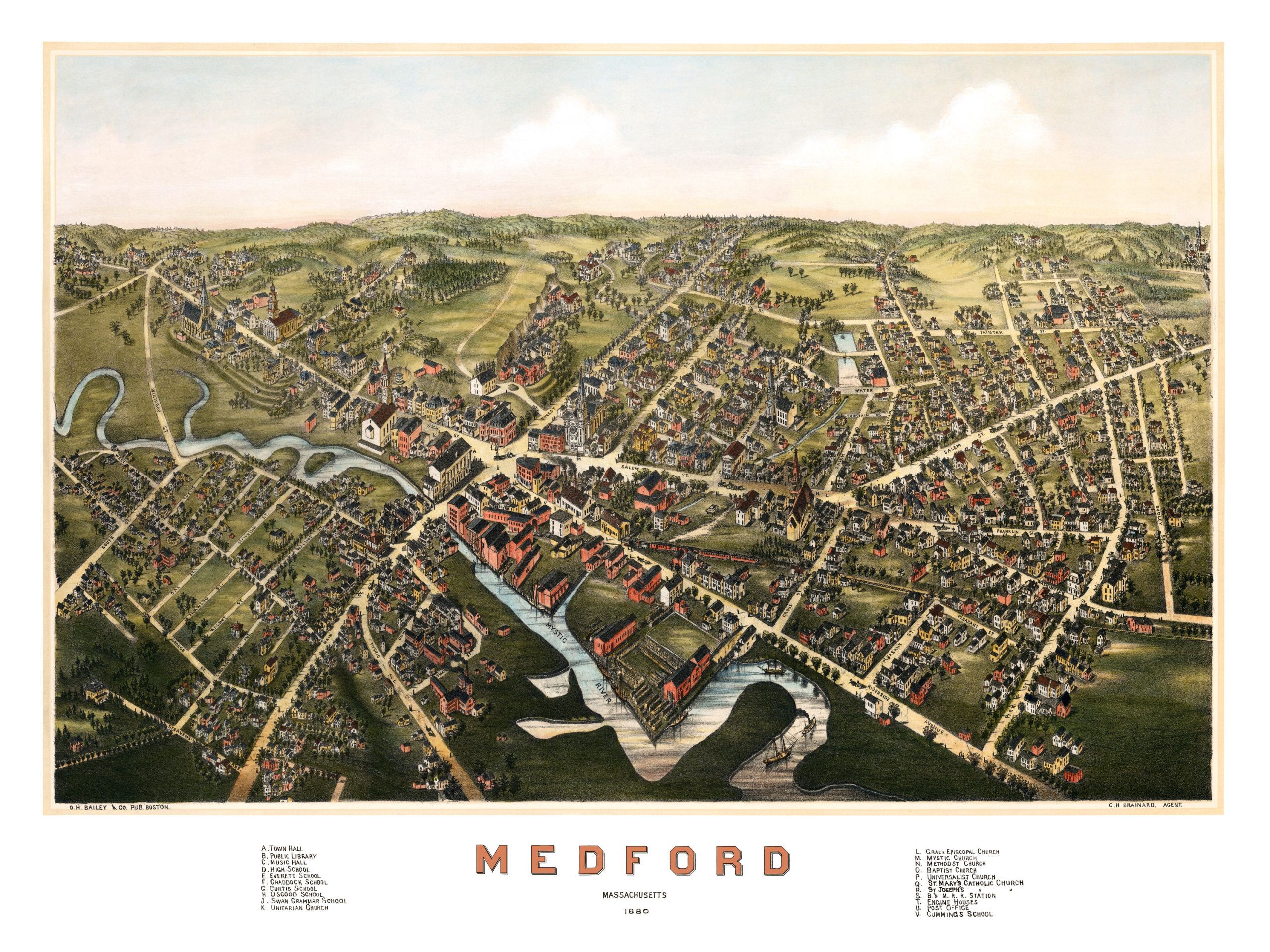 Amazing Old Map Of Medford Massachusetts From KNOWOL - Old map reproductions