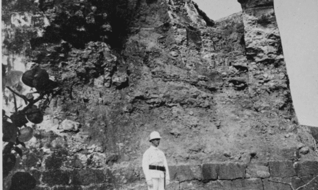 El Morro's Castle wall after being struck by a 13-inch shell in 1899