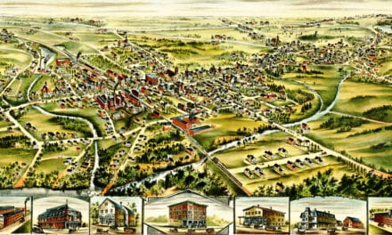 Bird's eye map of Derry, New Hampshire in 1898