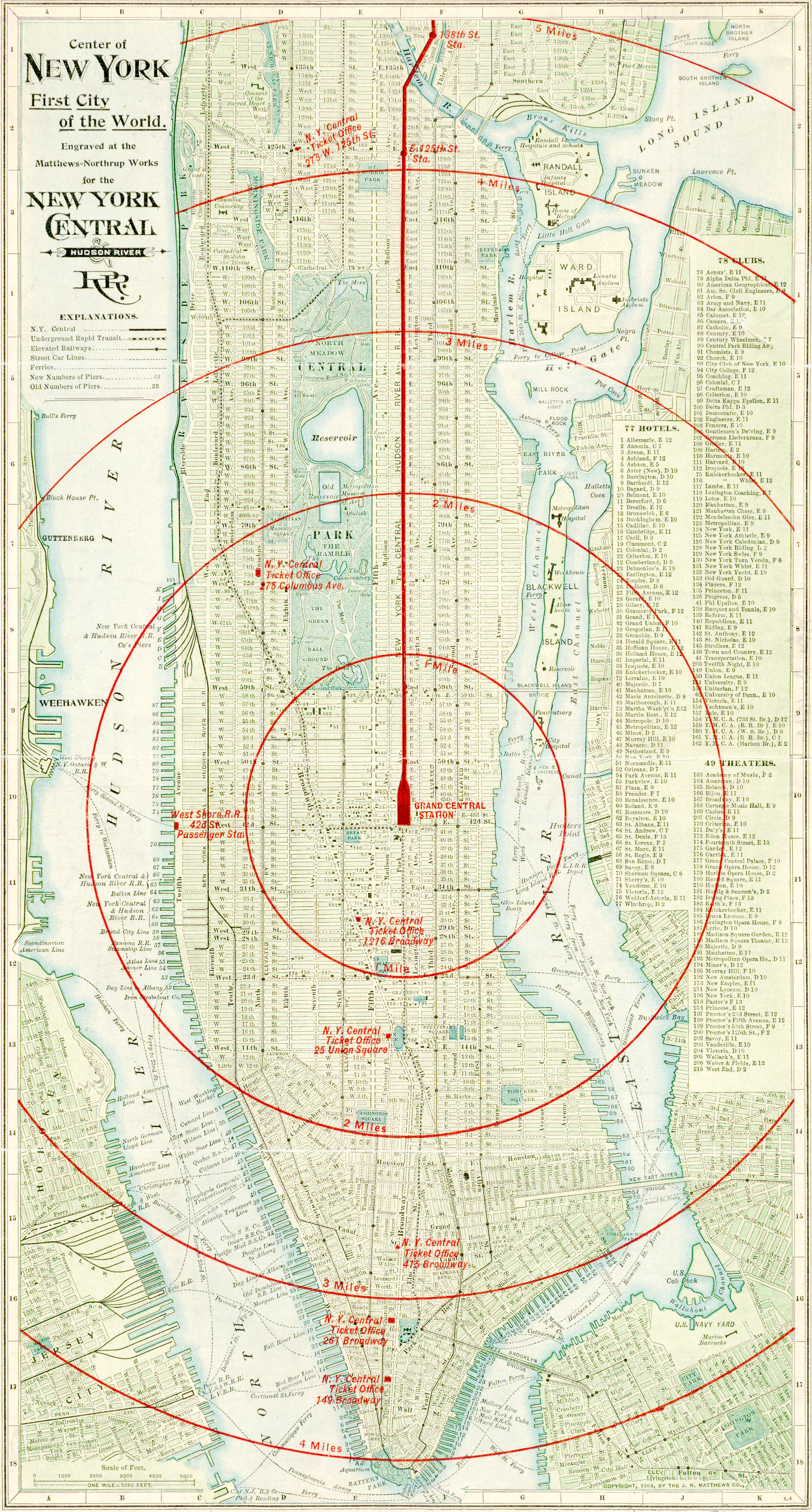 New york city a map of the center of the world in 1902 knowol this map of new york city was engraved for the new york central hudson river railroad in 1902 and shows routes for the ny central railroad sciox Image collections