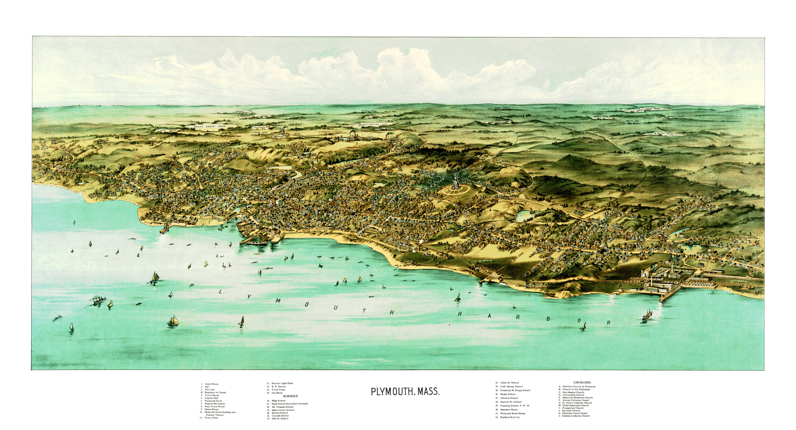 Vintage Map Of Plymouth Massachusetts From 1910 Knowol