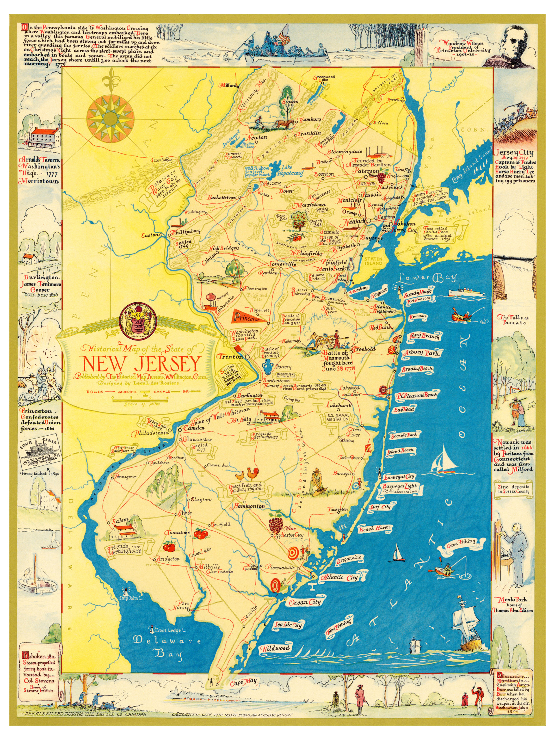 Amazing Map Of New Jersey Filled With Historical Trivia KNOWOL - Old map reproductions