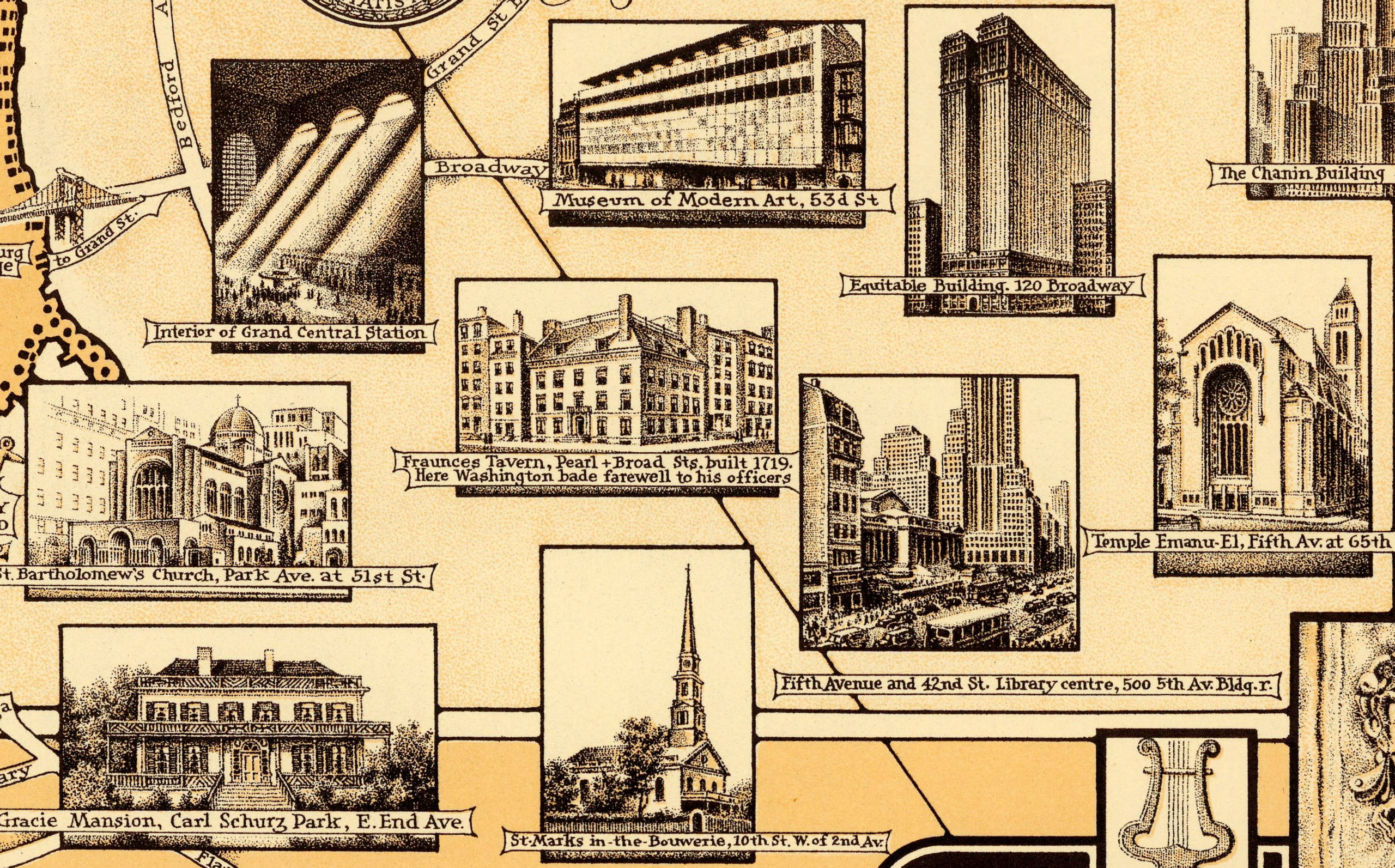 Old map of Manhattan, NYC featuring illustrations from 1939