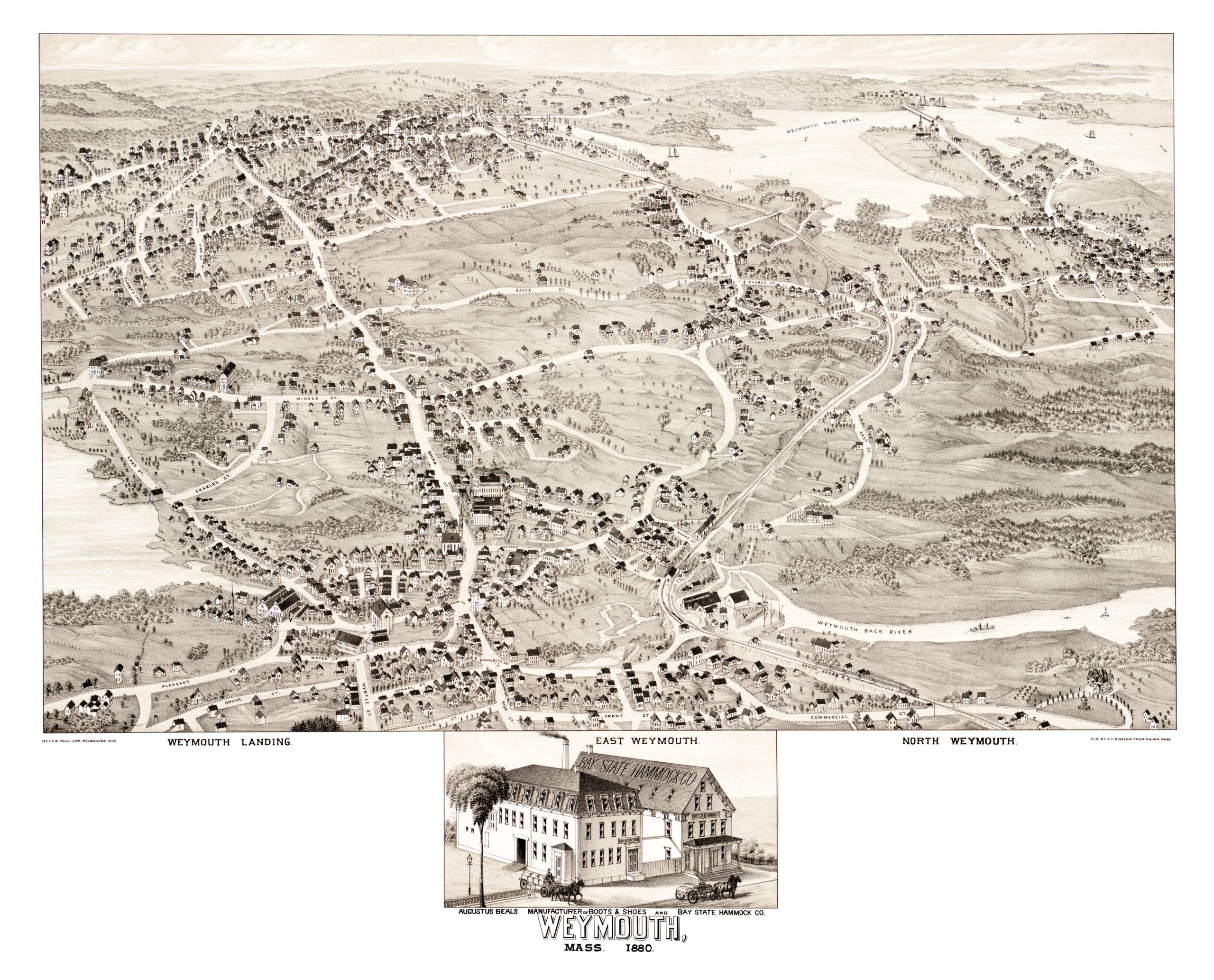 Historical Map Of Weymouth Massachusetts From KNOWOL - Historical wall maps