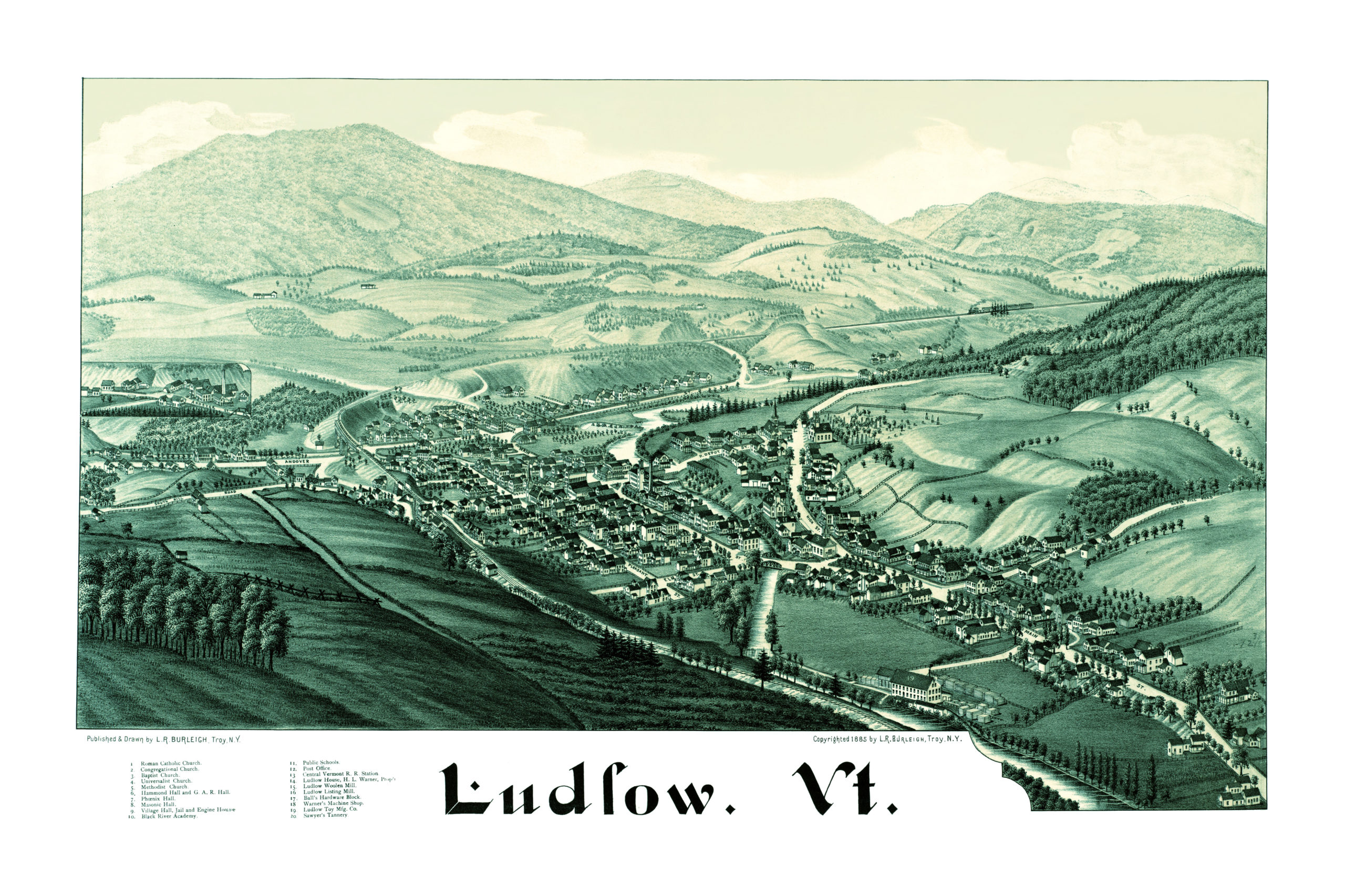 Beautiful Old Map Of Ludlow Vermont From KNOWOL - Old map reproductions