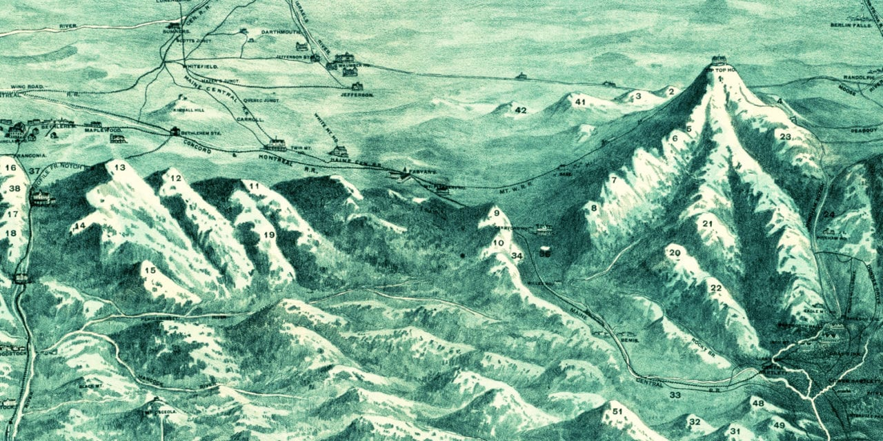 Beautifully detailed map shows White Mountains of New Hampshire in 1890