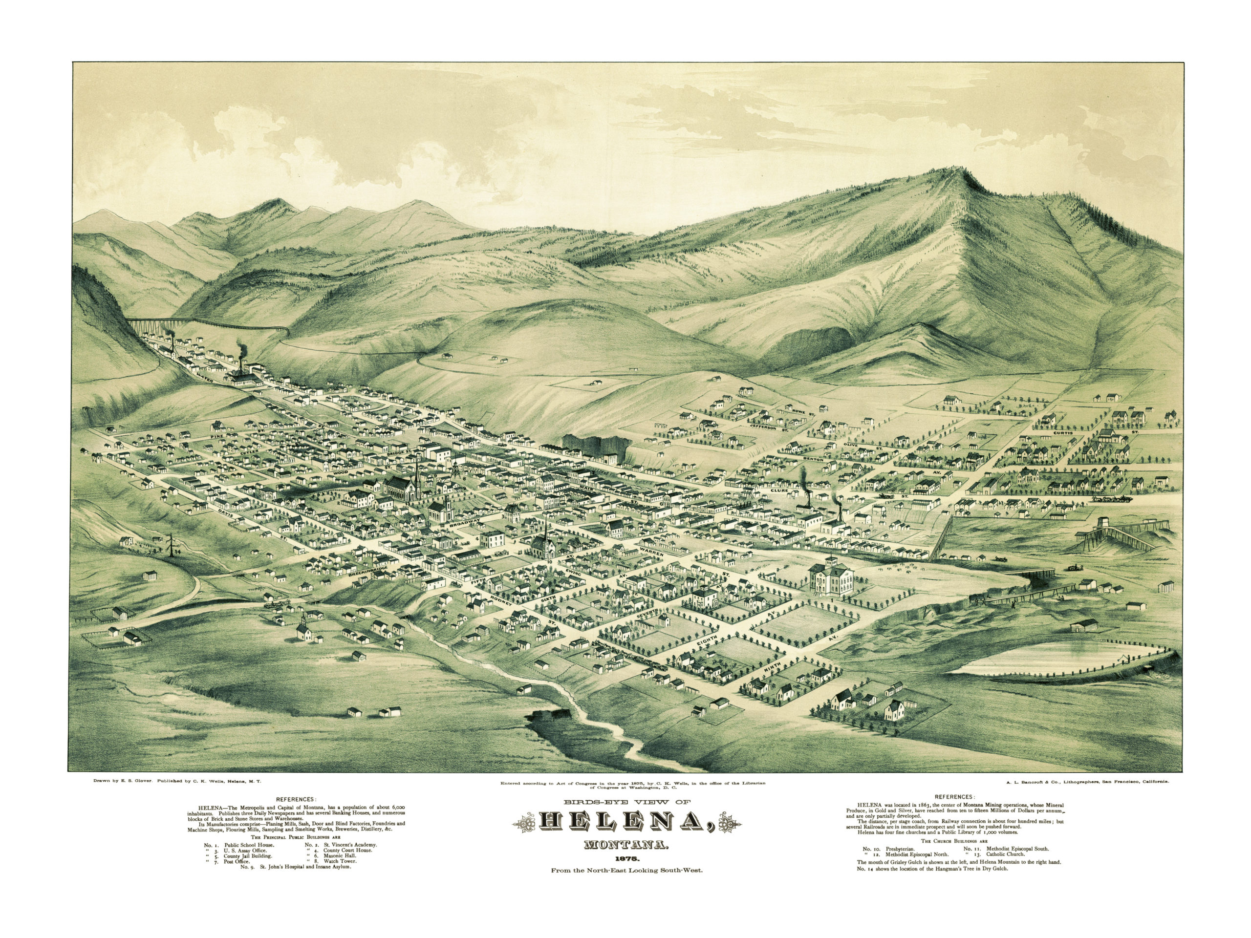 Beautifully restored map of Helena, Montana from 1875 - KNOWOL