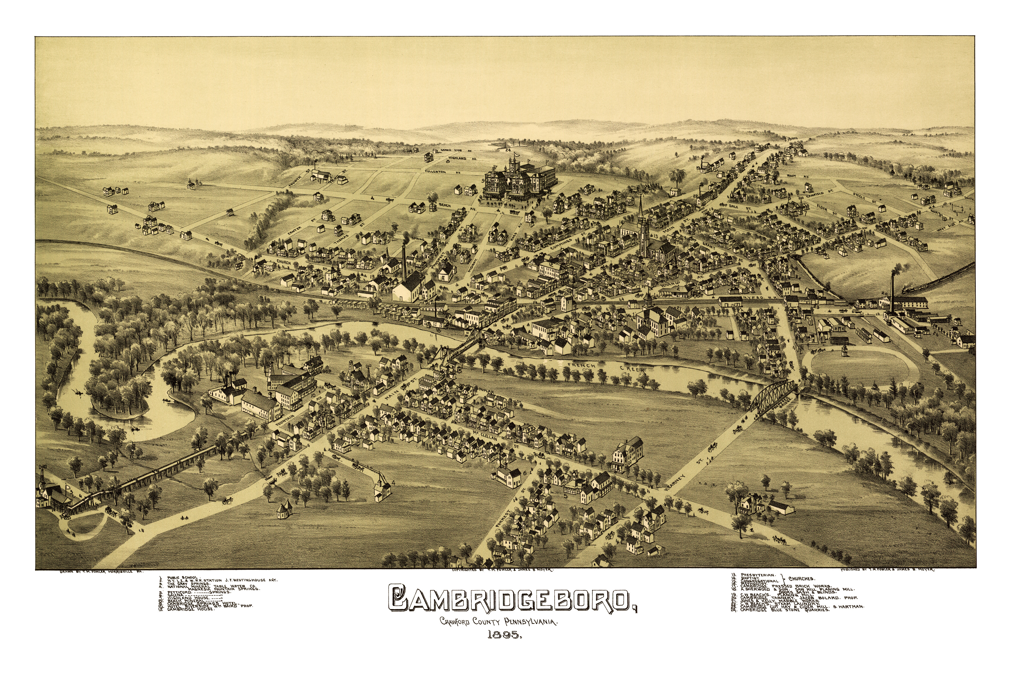 Old Map Shows Birds Eye View Of Cambridgeboro PA In KNOWOL - The old map company