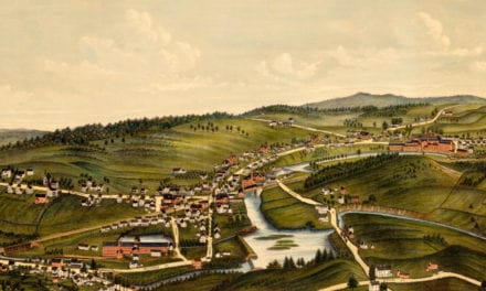 Old map showing a bird's eye view of Moosup, Connecticut in 1889