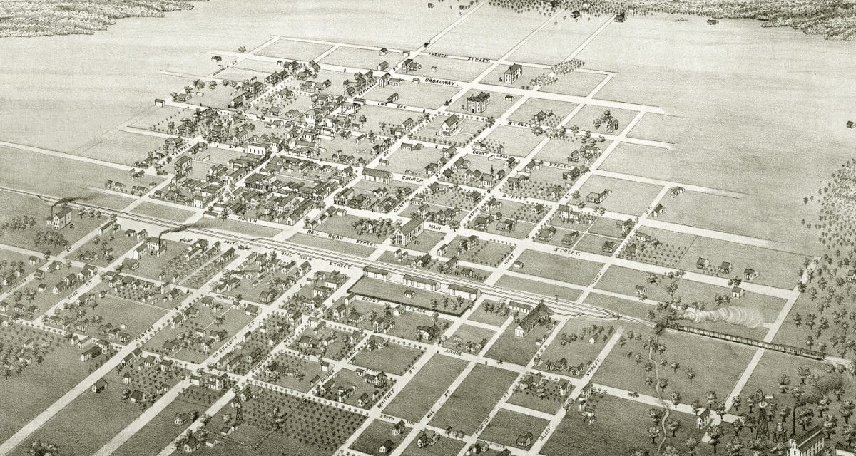 Beautifully restored map of Cuero, Texas from 1881
