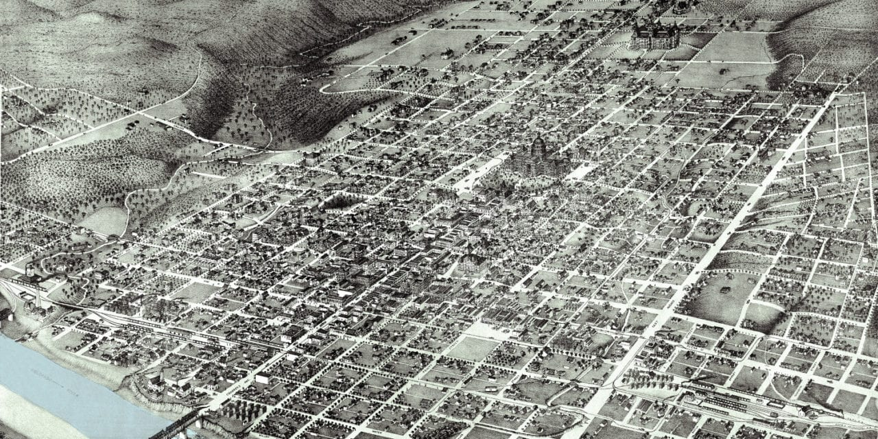 Beautifully restored map of Austin, TX from 1887