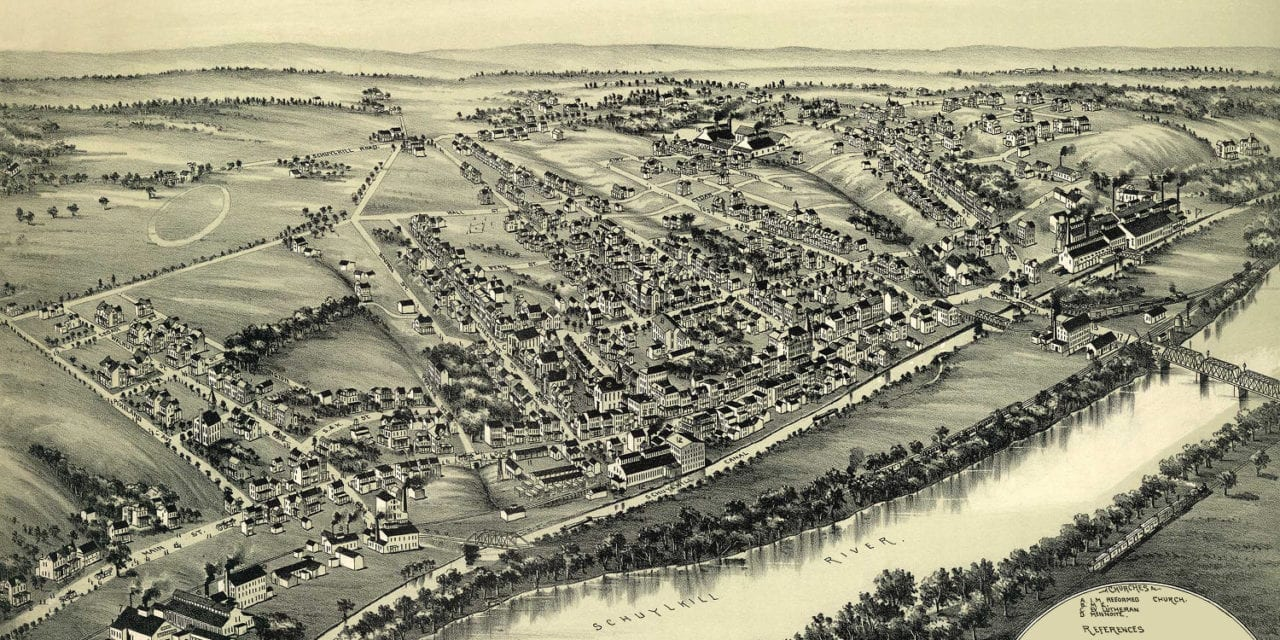 Beautifully restored map of Spring City, PA from 1893