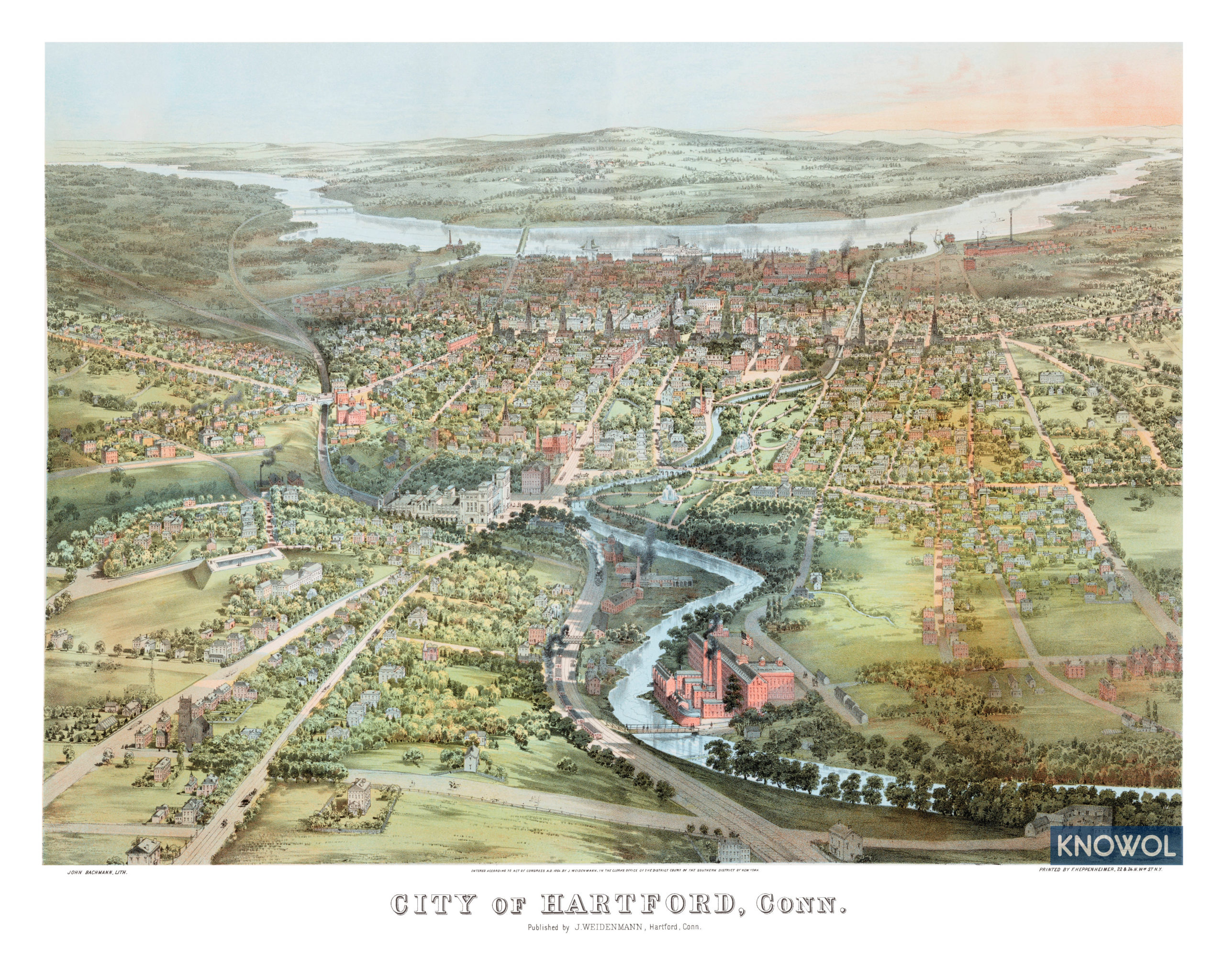 Beautifully detailed map of Hartford, Connecticut from 1864 - KNOWOL