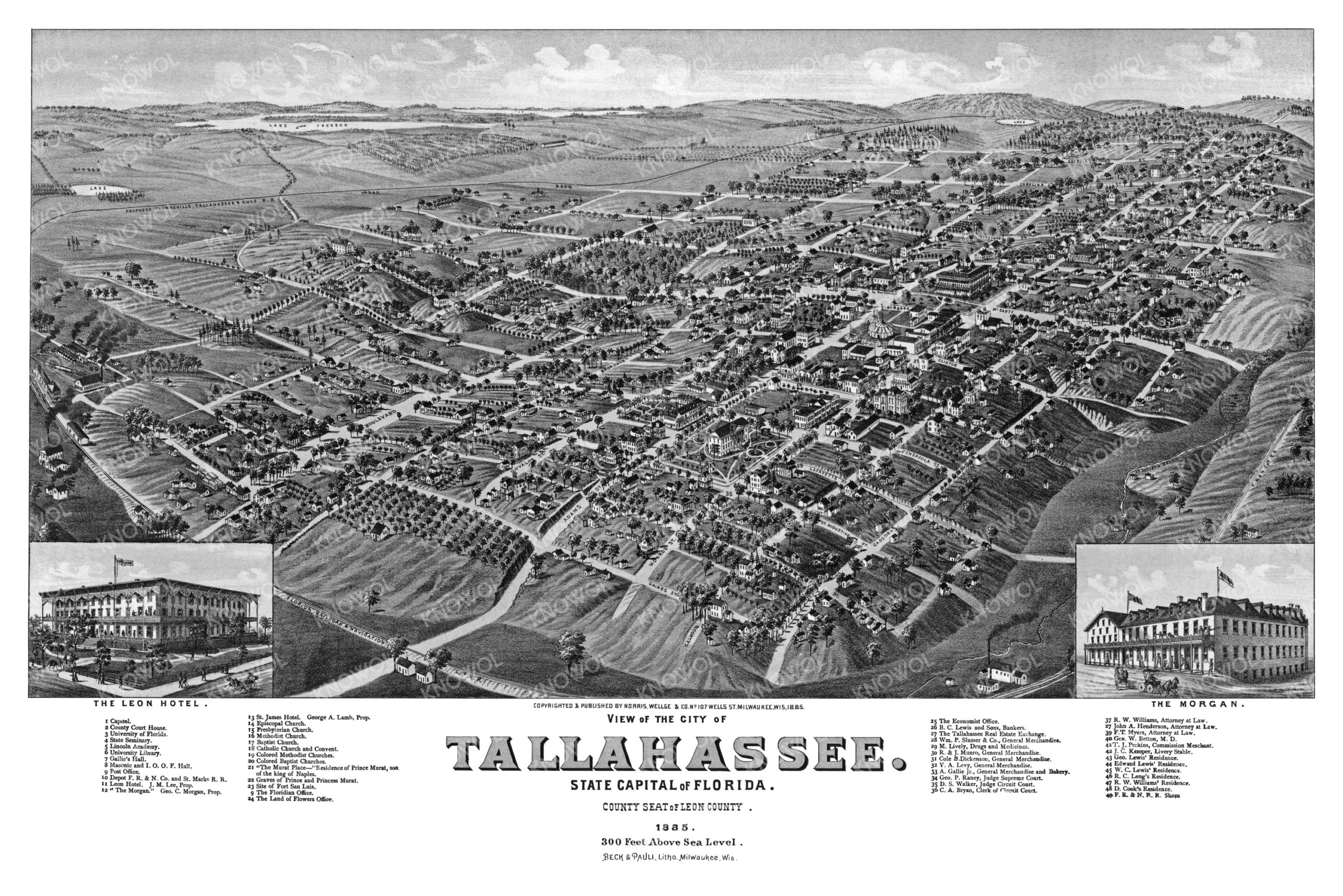 Beautifully restored map of Tallahassee, Florida from 1885 ...