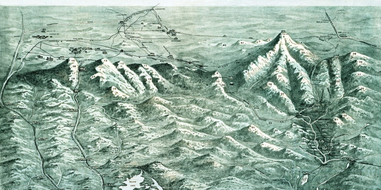 Beautifully detailed map of the White Mountains from 1890