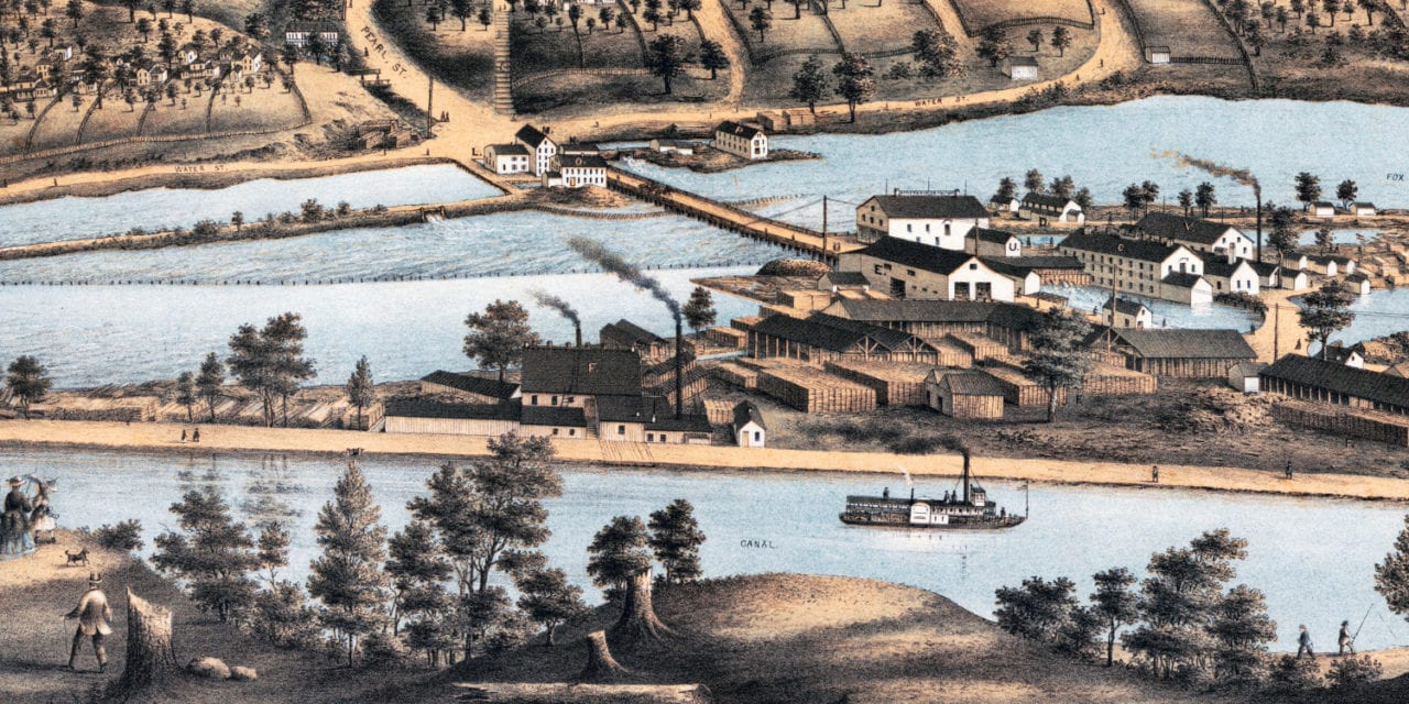 Beautifully detailed map of Appleton, Wisconsin in 1874