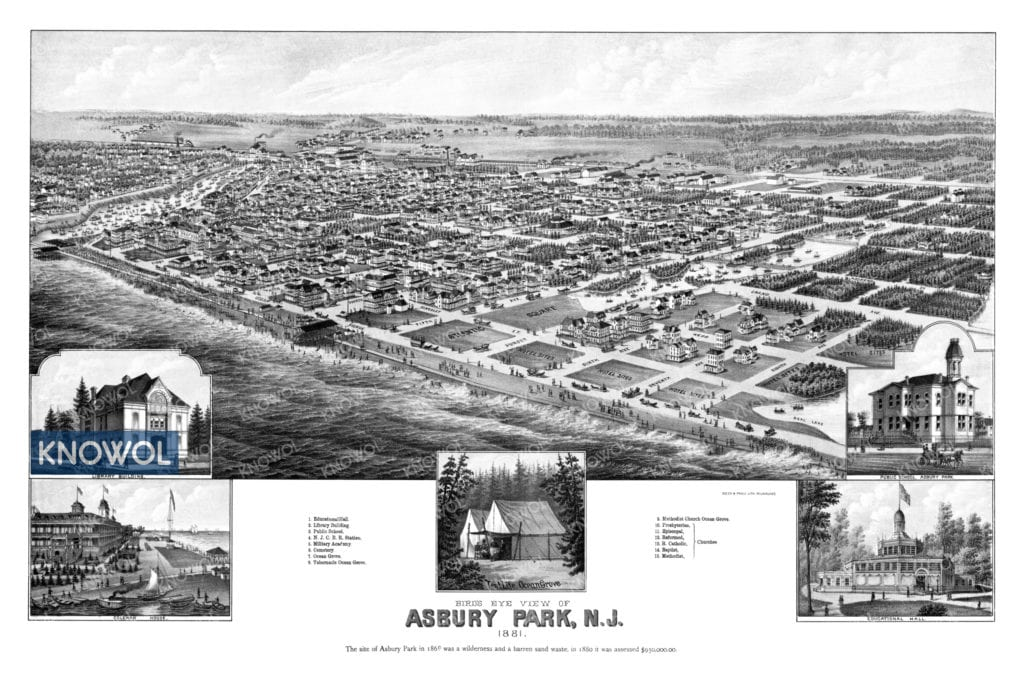 Map of Asbury Park New Jersey from 1881