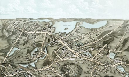 Beautifully restored bird's eye view of Canton, MA from 1878