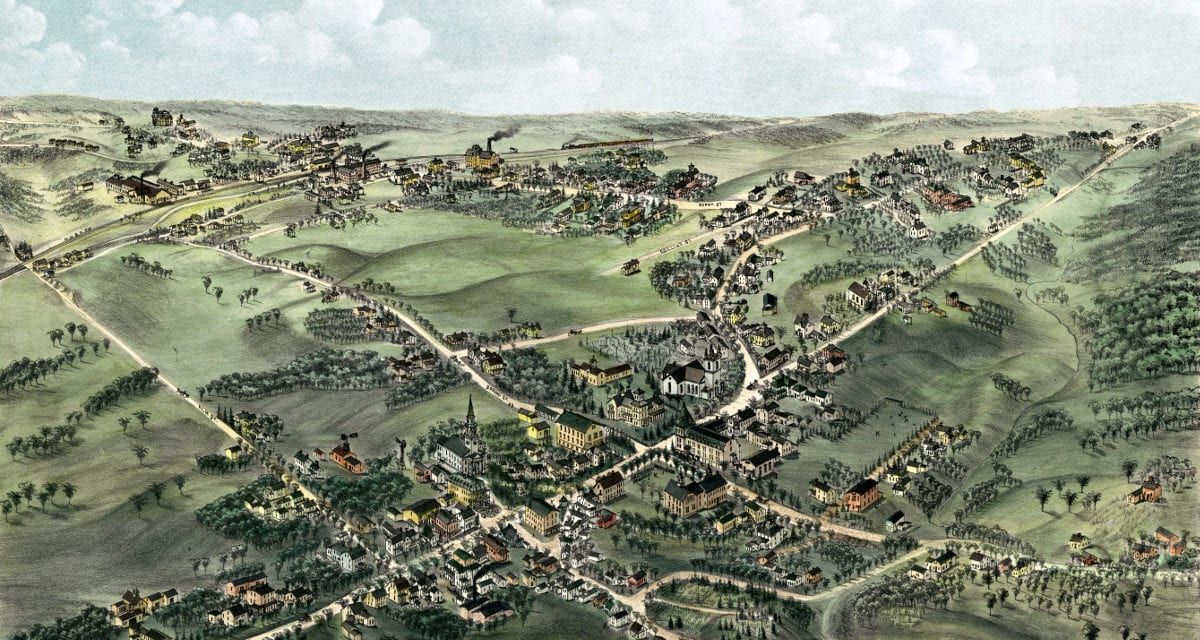 Beautifully restored map of Cheshire, CT from 1882