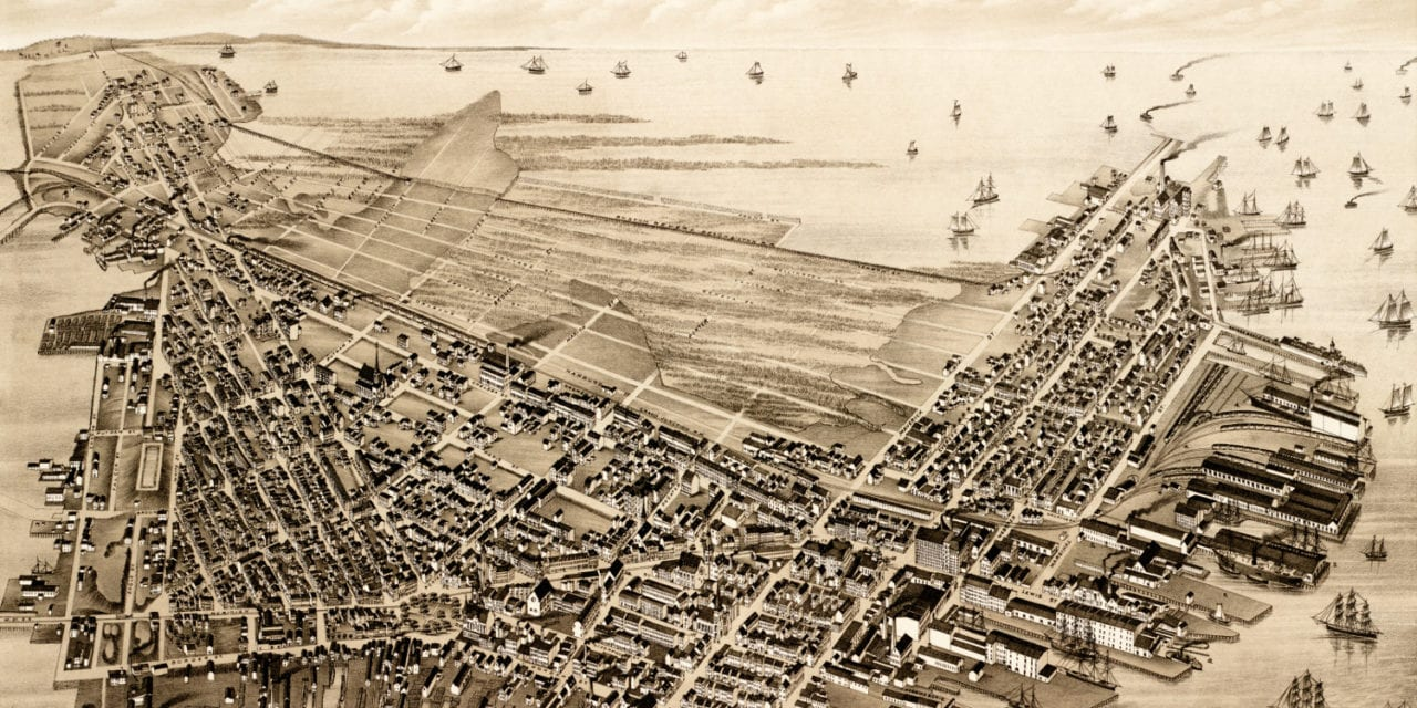 Beautifully restored map of East Boston, Massachusetts from 1879
