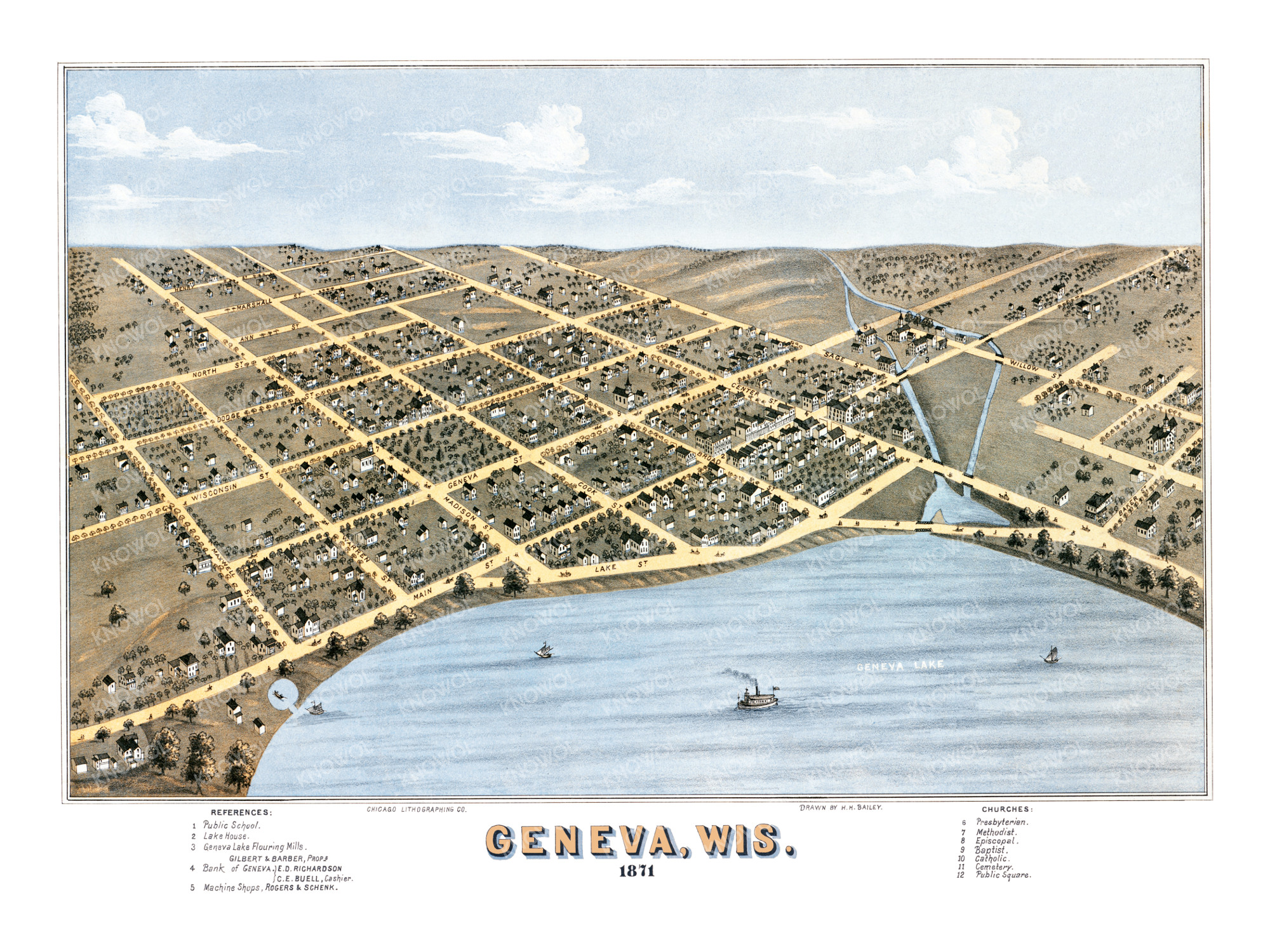 Beautifully restored map of Geneva, Wisconsin from 1871 - KNOWOL
