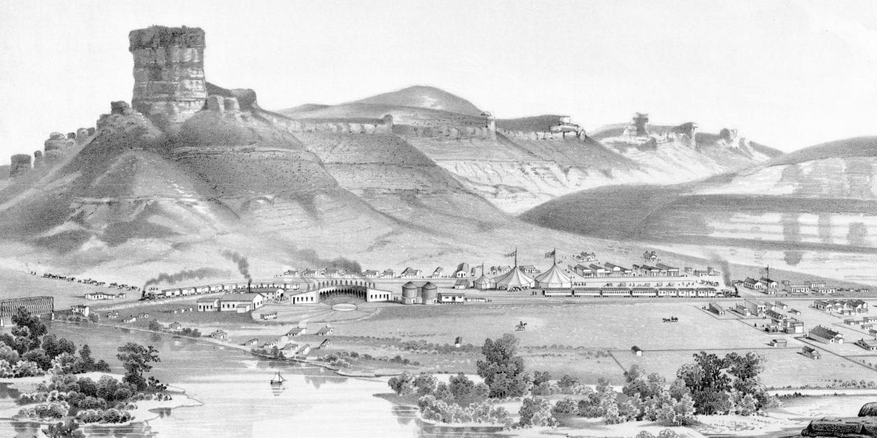 Beautifully detailed map of Green River, Wyoming in 1875