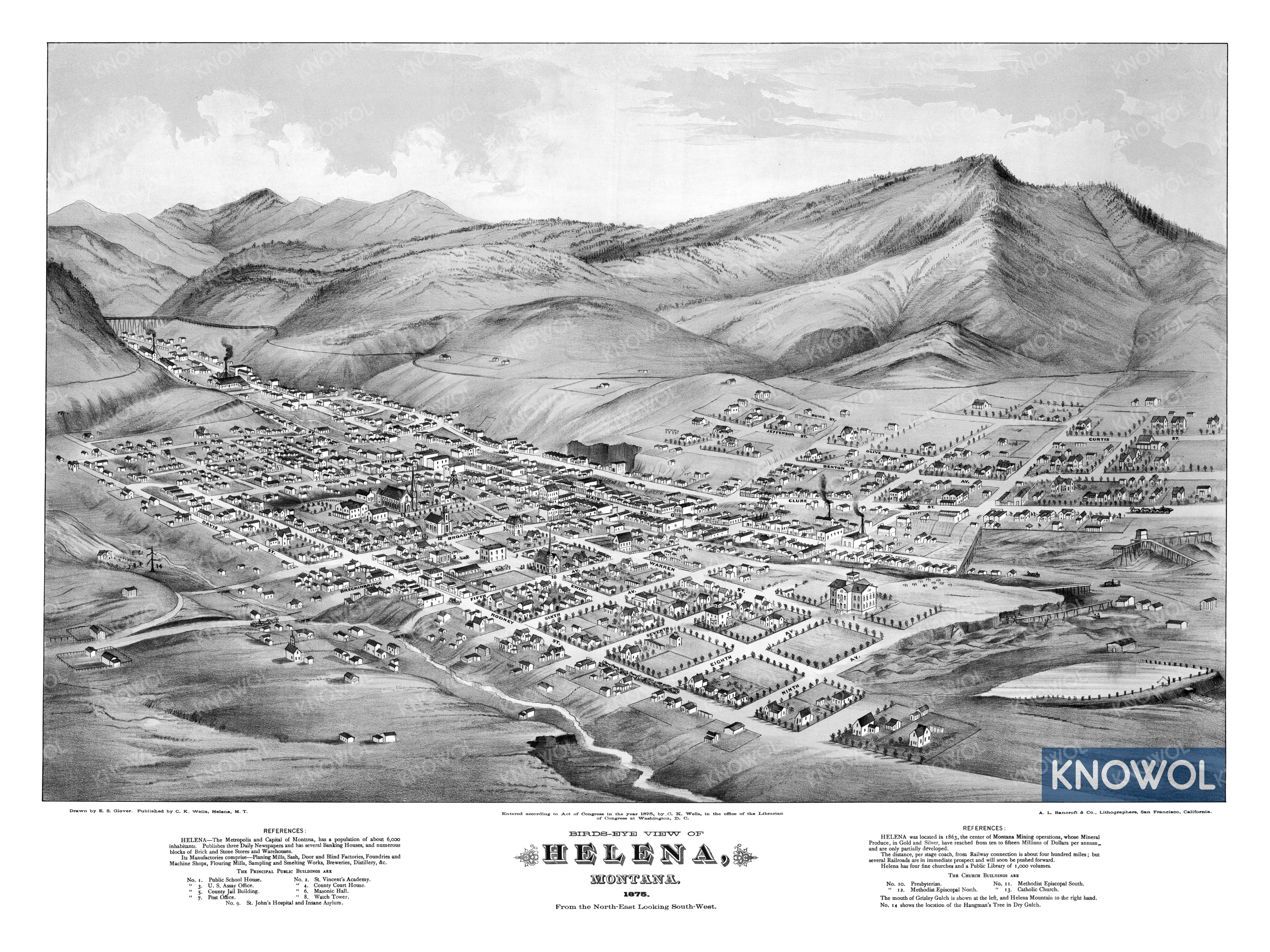 Beautifully detailed map of Helena, Montana from 1875 - KNOWOL
