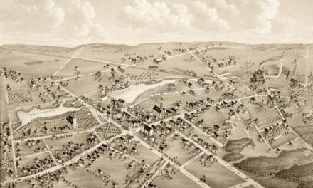 Old map showing a bird's eye view of Mansfield, Mass in 1879