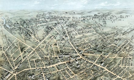 Beautifully restored map of Meriden, Connecticut from 1875