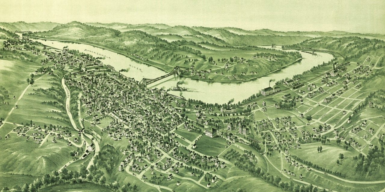 Historic old map of Morgantown, West Virginia in 1897
