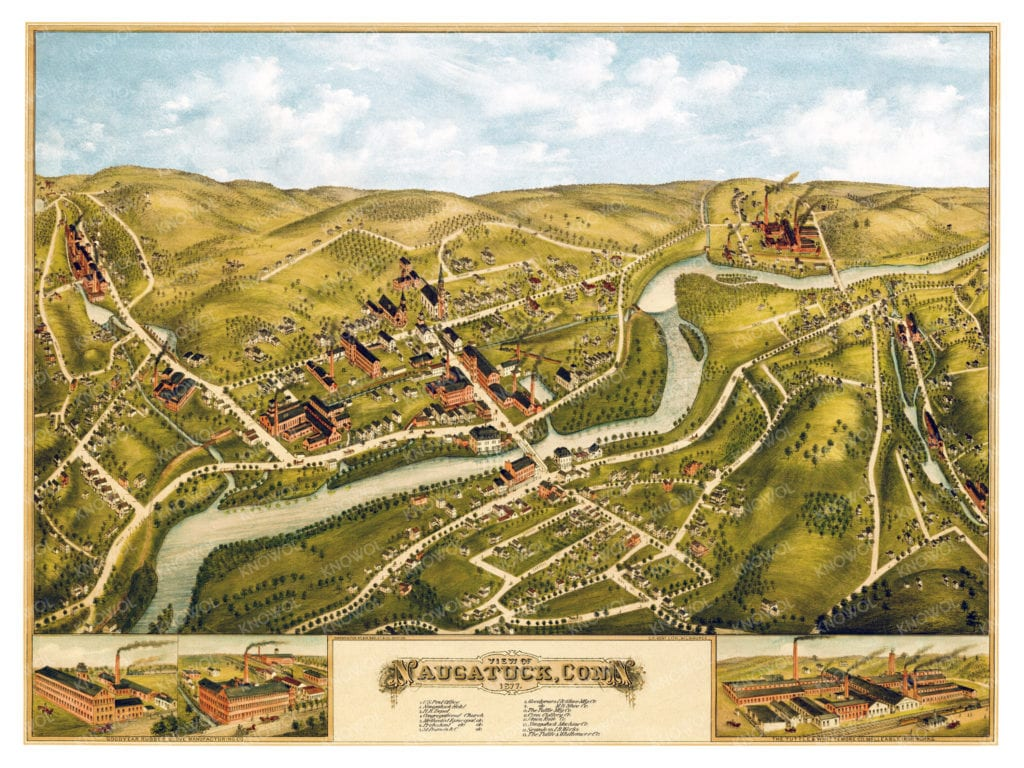 Map of Naugatuck Connecticut from 1877