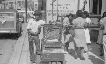 Street vendor selling pork on a street in Santurce, Puerto Rico