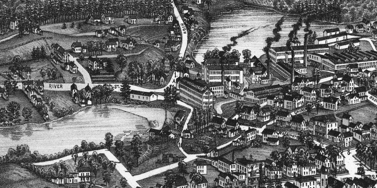 Beautifully detailed map of Sanford, Maine in 1889
