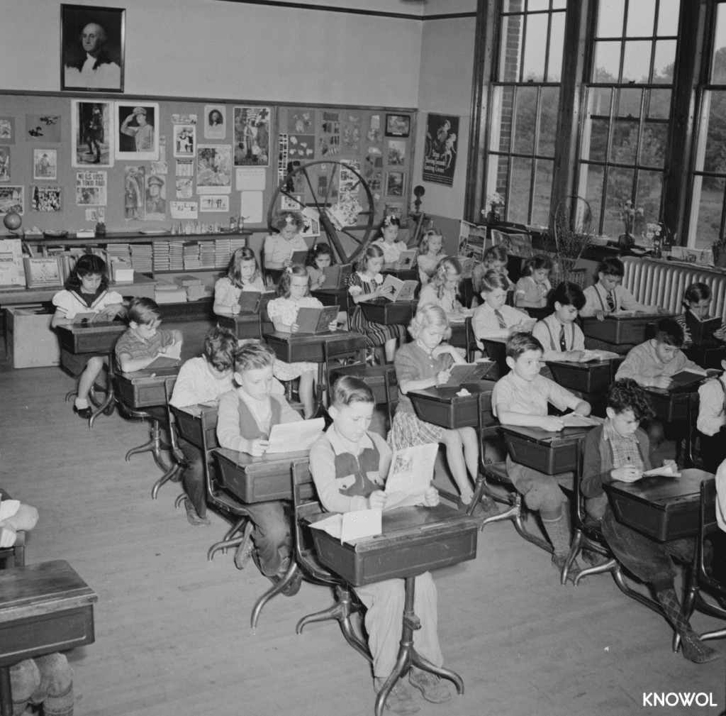 Schoolchildren in a Southington, CT classroom