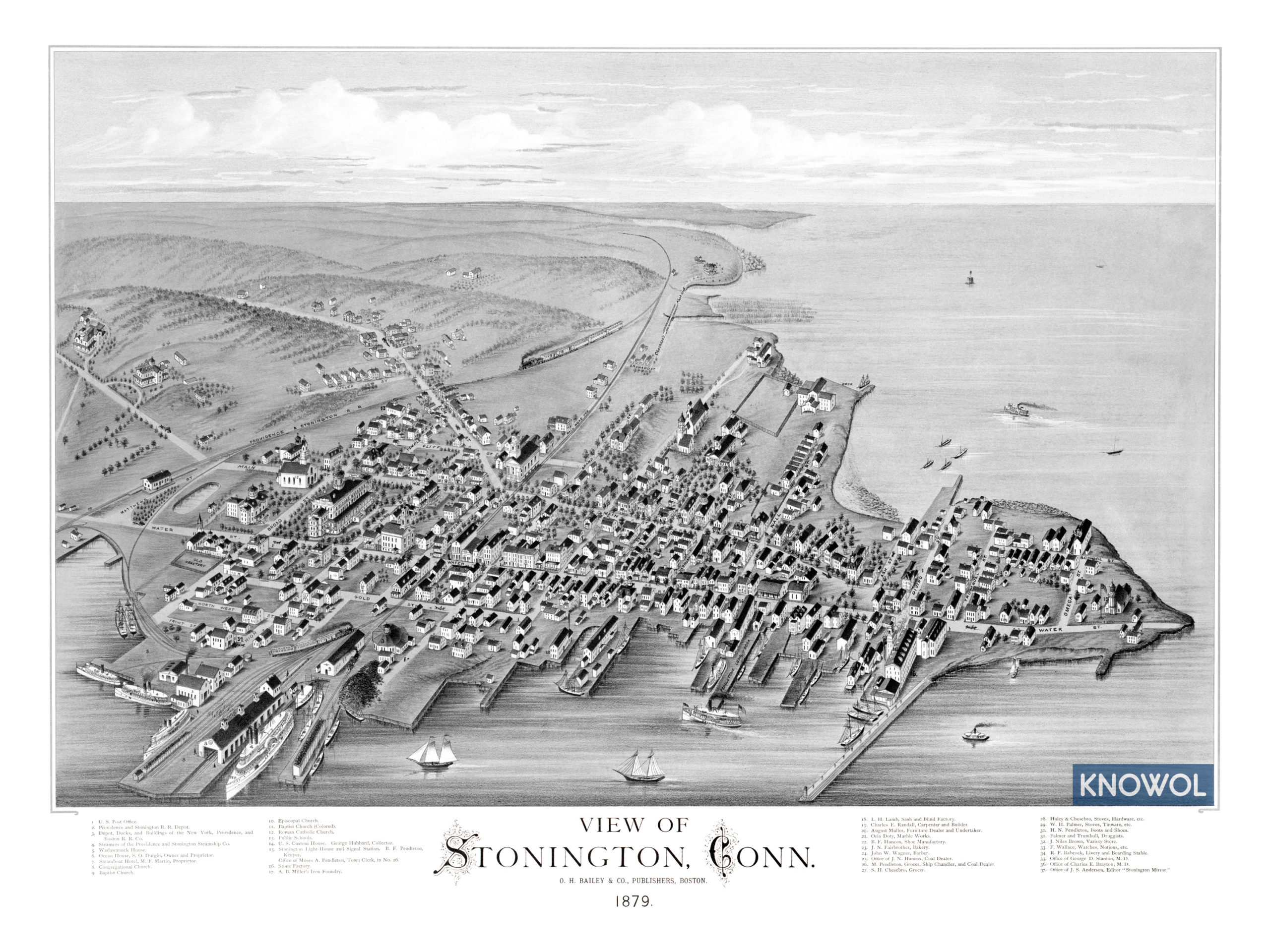 Amazing old map of Stonington, Connecticut in 1879