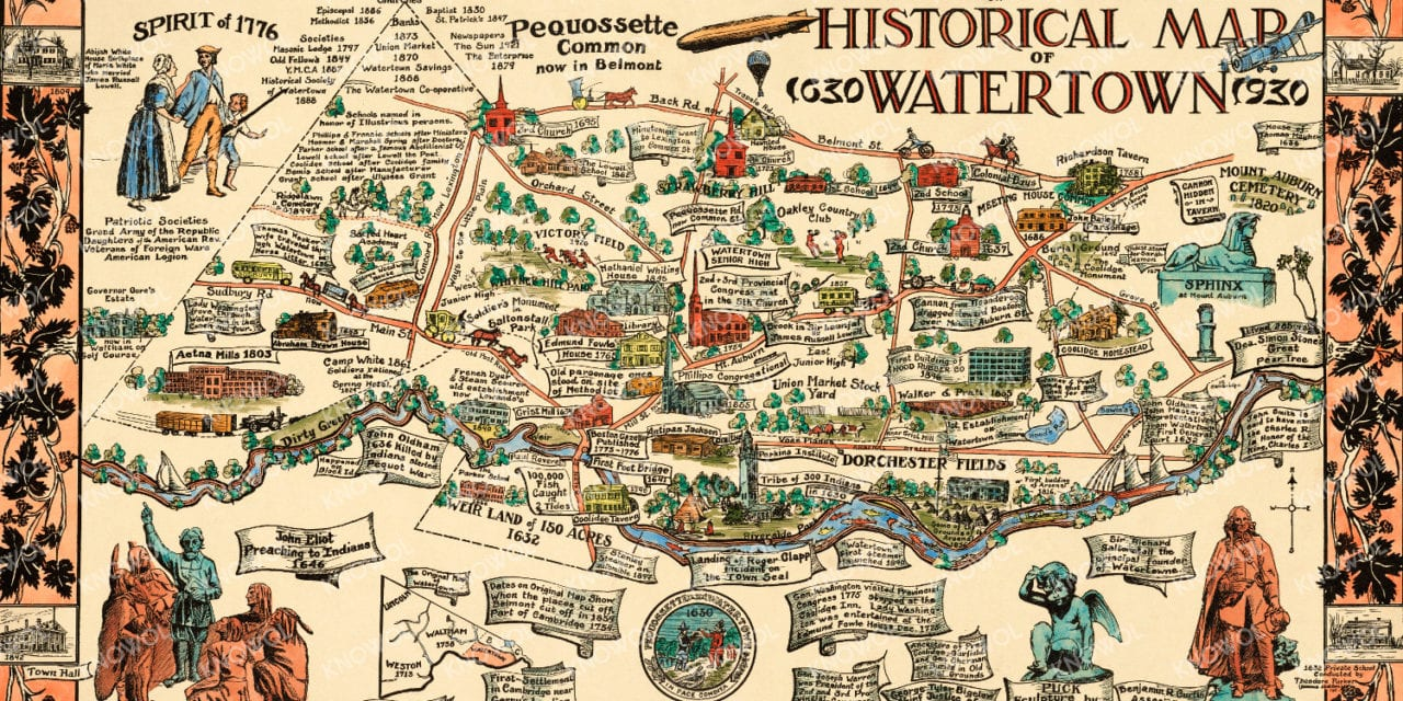 Historical map of Watertown, Massachusetts from 1930 - KNOWOL