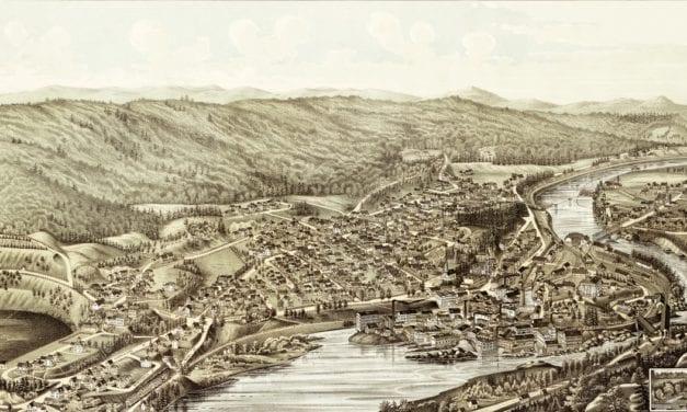 Amazing bird's eye view of Bellows Falls, VT in 1886