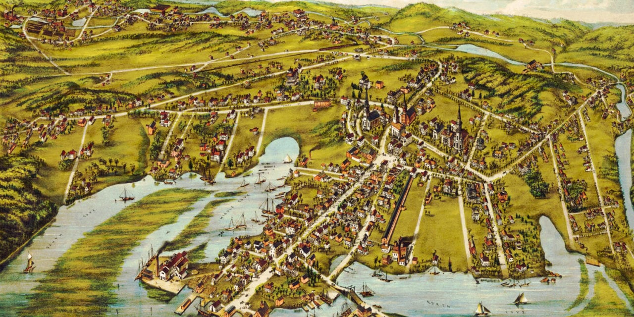 Beautiful bird's eye view of Essex, Connecticut in 1881