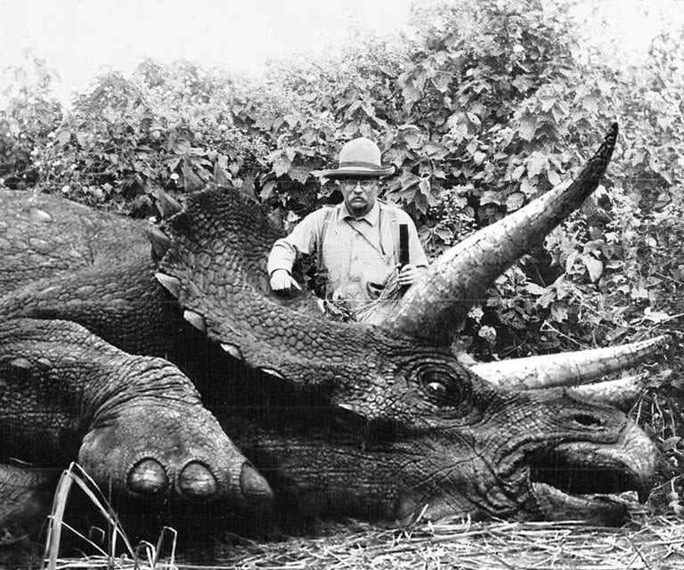 Theodore Roosevelt with a now-extinct Giant Eurasian Rhino
