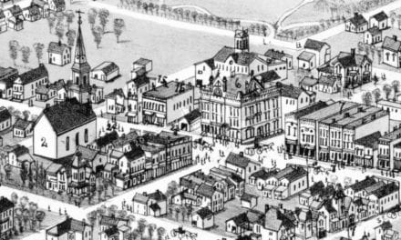 Detailed bird's eye view of Alma, Michigan in 1885