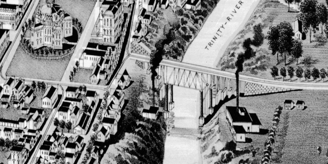 Historic bird's eye view of Fort Worth, Texas in 1891
