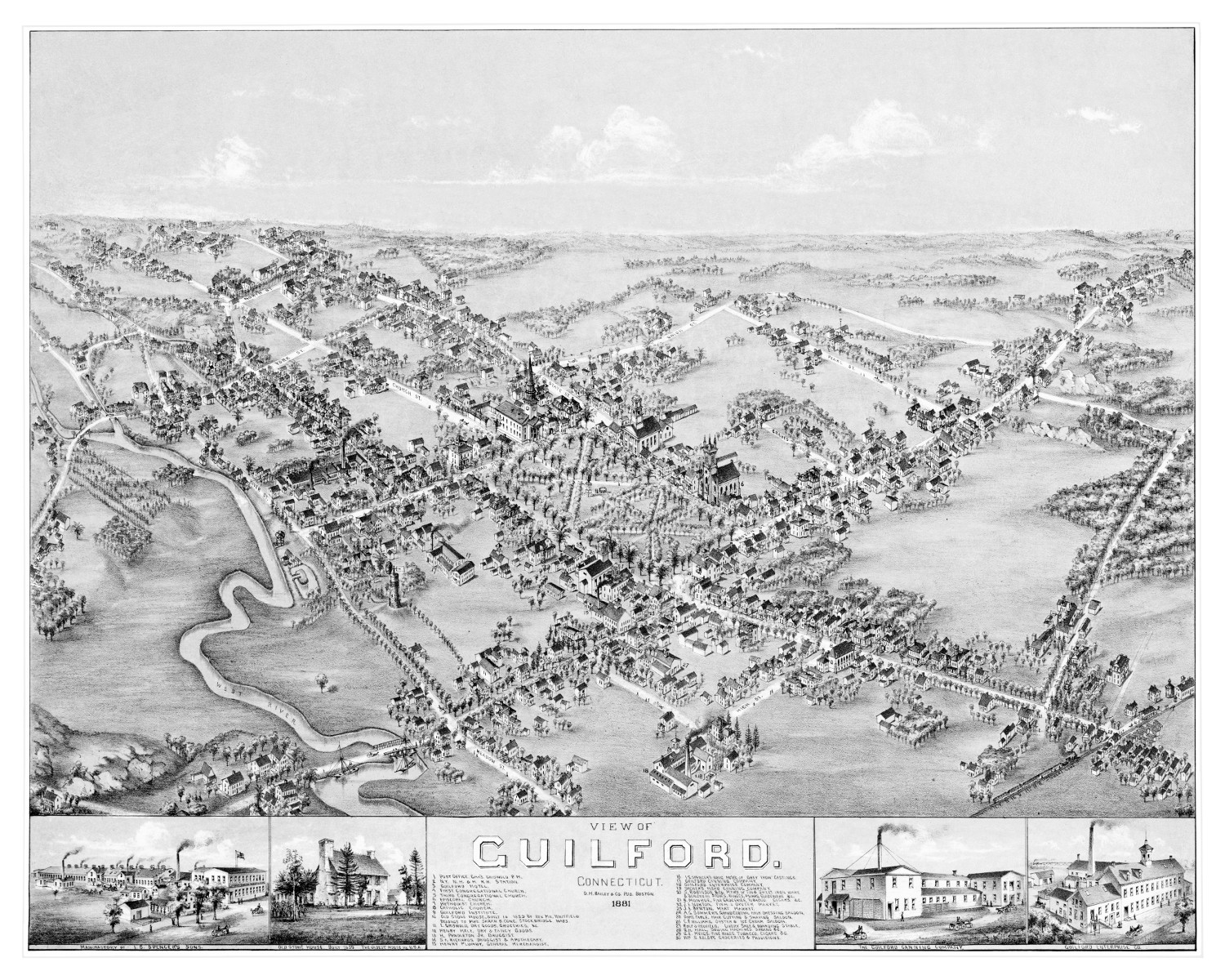 Vintage map of Guilford, Connecticut from 1881 - KNOWOL