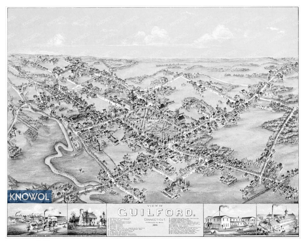 Historic old map of Guilford, Connecticut from 1881. The map shows old buildings, landmarks, and street names in Guilford, Connecticut.