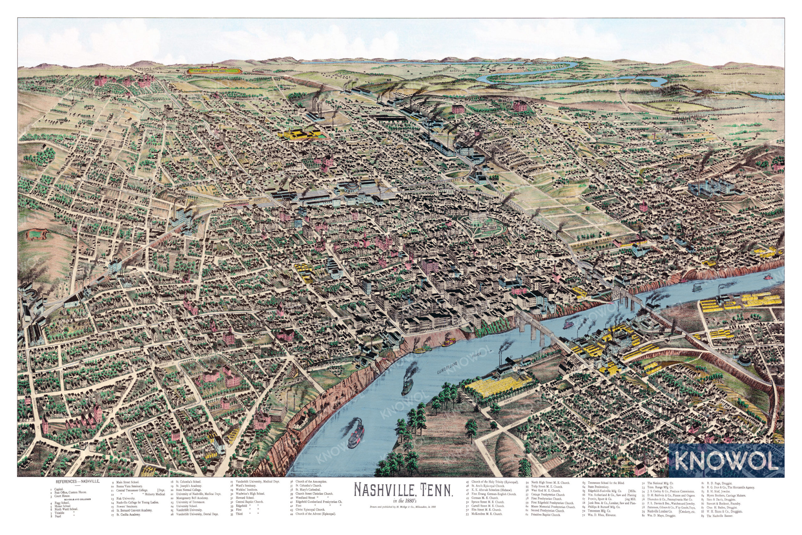 Beautifully restored map of Nashville, Tennessee from 1888 ...