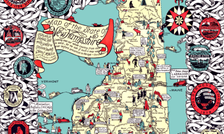 Beautifully detailed historical map of New Hampshire, 1926