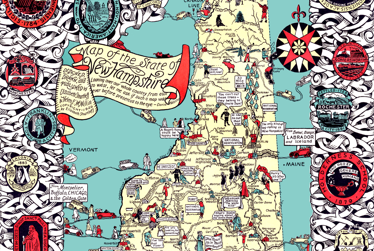 Beautifully detailed map of New Hampshire history from 1926