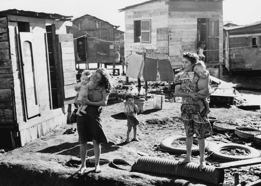 Women and children in San Juan Puerto Rico in the 1940's