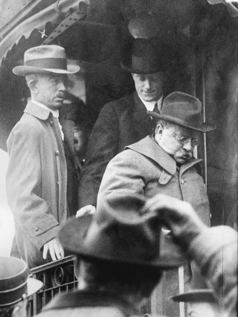 Theodore Roosevelt arrives in Oyster Bay, NY after surviving an assassination attempt