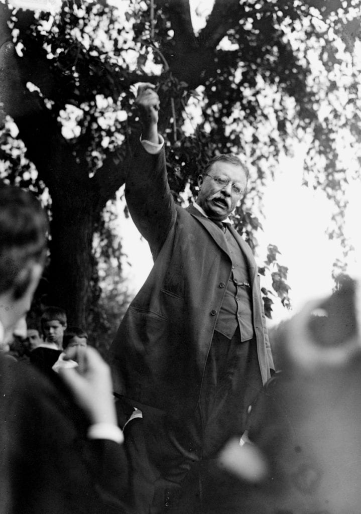 Theodore Roosevelt giving a speech at Sagamore Hill, NY.